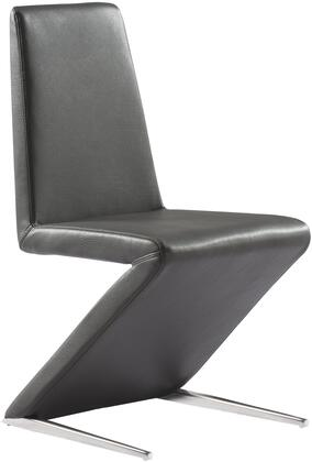 DC1272P-GRY Bali Dining Chair  dark gray faux leather  polished stainless steel base  elastic webbing