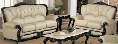 989IVORYS2SET Traditional 2 Piece Livingroom Set  Sofa and Loveseat in Ivory with Mahgany Wood