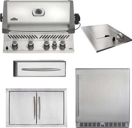 5-Piece Stainless Steel Outdoor Kitchen Package with BIP500RBPSS1 31 inch  Liquid Propane Grill  N3700504 18 inch  Side Burner  N3700502 28 inch  Double Access Door  N3700359