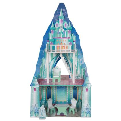 KYD11800F Dual Theme (Ice / Princess Castle) Wooden Doll House with 9 pcs Furniture for 12 inch