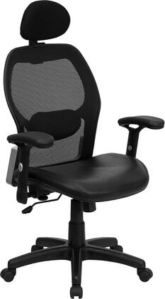LF-W42B-L-HR-GG High Back Super Mesh Office Chair with Black Leather