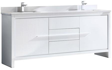 Allier Collection FCB8172WH-CWH-U 72 inch  Double Vanity with 2 Undermount Sinks  Quartz Stone Top  2 Soft Closing Doors and 3 Soft Closing Drawers in