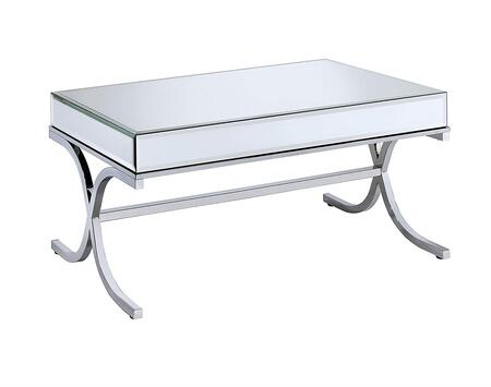 Yuri Collection 81195 42 inch  Coffee Table with 5mm Clear Mirrored Panels  Beveled Edges  Square Shape   inch X inch  Base Design and Metal Frame in Chrome