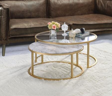 Shanish Collection 81110 2 PC Nesting Table Set with Faux Marble Top  Clear Glass Top  Drum Shape  Medium-Density Fiberboard (MDF) and Metal Tube Frame in Gold