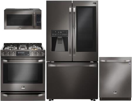 "5-Piece Black Stainless Steel Kitchen Package with LSFXC2496D 36"" French Door Refrigerator  LSSE3029BD 30"" Slide-In Electric Range  LSMC3089BD 30"""