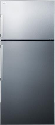 Summit FF1512SSIM 28 Top Freezer Refrigerator with 12.6 Cu. Ft. Capacity Designer Handles Frost-Free Operation Adjustable Glass Shelves Digital Temperature Control and Crisper Drawer: Stainless