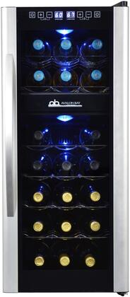 AB-WINE21DS 14 inch  Wine Cooler with 21 Bottle Capacity Digital Temperature Controls  LED Lighting  Thermoelectric Cooling and Vibration Free  in
