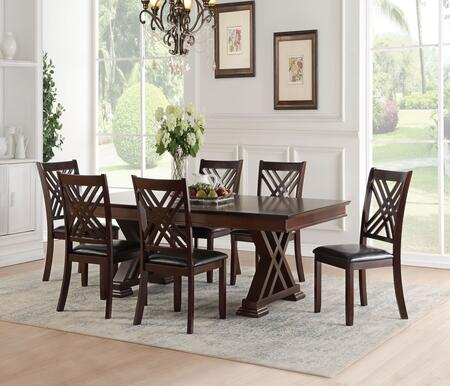 Katrien Collection 718556SET 7 PC Dining Room Set with Extendable Dining Table and 6 Black PU Leather Upholstered Side Chairs in Espresso