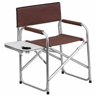 TY1104-BN-EMB-GG Embroidered Aluminum Folding Camping Chair with Table and Drink Holder in