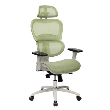 RTA-5004-GRN High Back Mesh Office Executive Chair with Neck Support. Color: