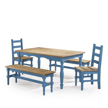 CSJ201 Jay 5-Piece Solid Wood Dining Set with 2 Benches  2 Chairs  and 1 Table in Blue