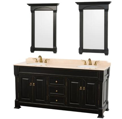 WCVTD72BLIV 72 in. Double Bathroom Vanity in Antique Black with Ivory Marble Top with White Undermount Sinks and 28 in.