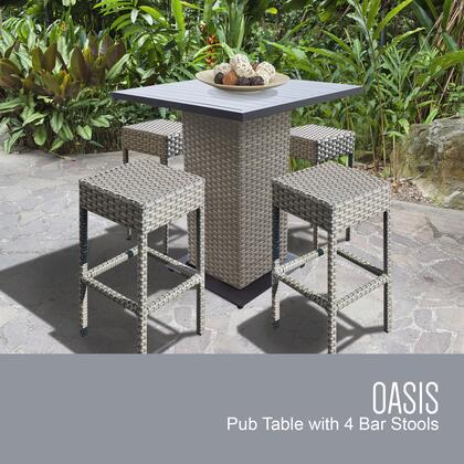 OASIS-PUB-BACKLESS-4 5-Piece Oasis Pub Table Set with Table and 4 Backless Bar