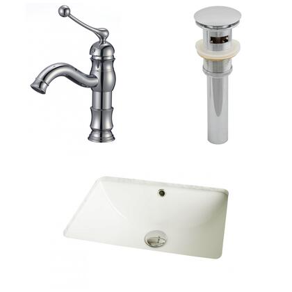 AI-13007 18.25-in. Width x 13.5-in. Diameter CUPC Rectangle Undermount Sink Set In Biscuit With Single Hole CUPC Faucet And