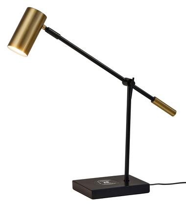 Collette Collection 4217-01 Charge LED Desk Lamp with USB Port on Base  Touch Switch on Shade and Qi Inductive Pad in Black and