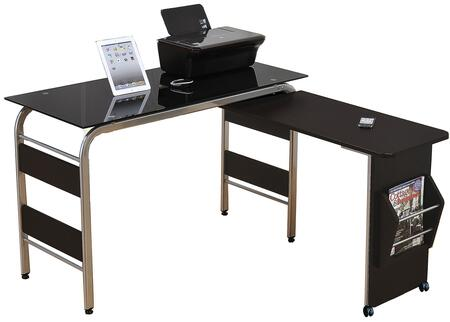 92058 Garion 47 inch  Computer Desk in Black/Chrome with Black Glass