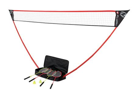 OD0006W Portable Badminton Set with 2 Red & 2 Green Rackets  2 Shuttlecocks  a Regulation Net  and a Lightweight Carrying