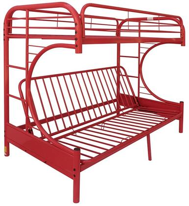 Eclipse Collection 02091WRD Twin/Full/Futon Bunk Bed with Full Length Guard Rail  Metal Tube Slats Included and Built-In Side Ladders in Red