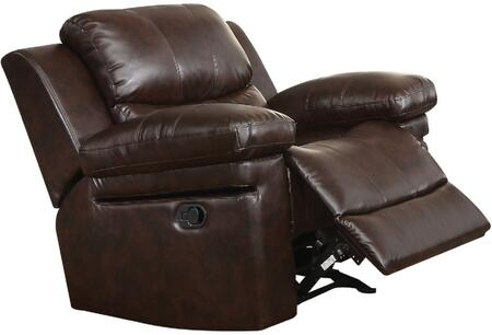 Xenos Collection 52142 41 inch  Rocker Recliner with Pillow Top Arms  Wood and Metal Frame  Tight Cushions and Leather-Aire Upholstery in Dark Brown