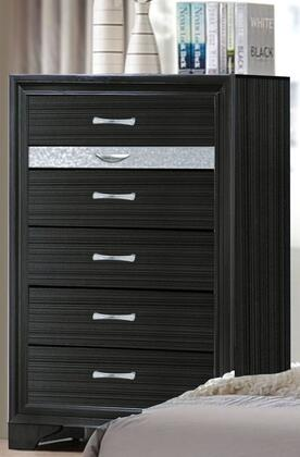 Naima Collection 25906 34 inch  Chest with 6 Drawers  Silver Metal Hardware  Light Grey Acrylic Trim  Rubberwood and Chipboard Materials in Black