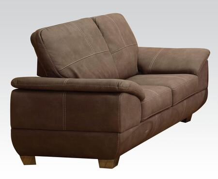 Corliss Collection 51671 70 inch  Loveseat with Polished Metal Legs  Padded Arms and Nubuck Fabric Upholstery in Grey
