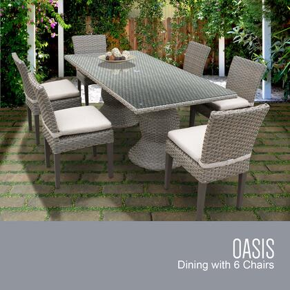 Oasis-rectangle-kit-6c-beige Oasis Rectangular Outdoor Patio Dining Table With 6 Armless Chairs With 2 Covers: Grey And