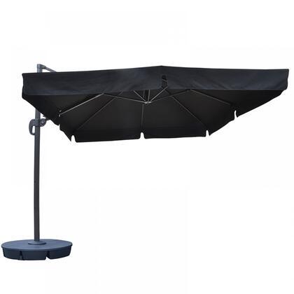 NU6170 Santorini II 10-ft Square Cantilever Umbrella w/ Valance in Black Sunbrella