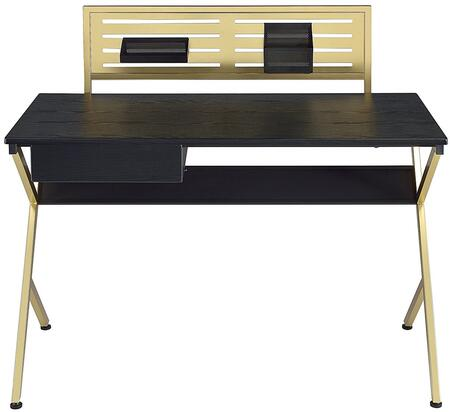 Bolles Collection 92332 46 inch  Writing Desk with 1 Drawer  Rack Board Organizer  Wooden Top and Brass  inch Y inch  Shape Metal Base in Black and Gold