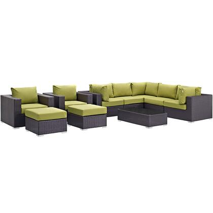 Convene Collection EEI-2169-EXP-PER-SET 10-Piece Outdoor Patio Sectional Set with Coffee Table  3 Armless Chairs  2 Armchairs  2 Corner Sections and 2 Ottomans
