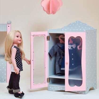 TD0209AG 18 inch Doll Furniture - Classic Wooden Closet with 3 Hangers