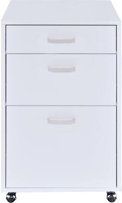 """Coleen Collection 92454 18"""""""" File Cabinet with 3 Drawers  Casters  Metal Frame  Medium-Density Fiberboard (MDF) and Poly Veneer Materials in White High Gloss"""" 895689"""