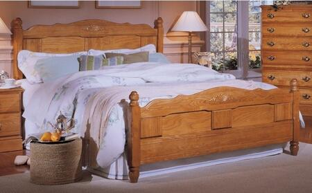 Carolina Oak 237850-982500-79091 63 inch  Queen Sized Bed with 5 Legged Metal Frame and Panel Headboard in Golden
