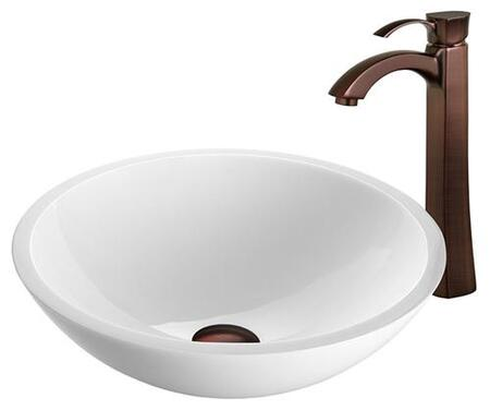 VGT208 Flat Edged White Phoenix Stone Glass Vessel Sink with Oil Rubbed Bronze