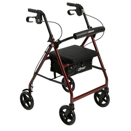 r728rd Aluminum Rollator With Fold Up And Removable Back Support And Padded Seat