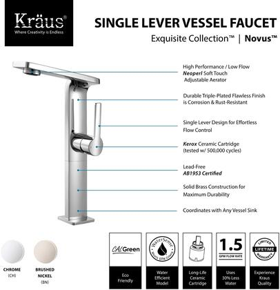 KEF15400PU10CH Exquisite Series Novus Bathroom Vessel Lever Faucet with Solid Brass Construction  Neoperl Aerator  and Included Pop-Up Drain