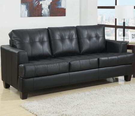 Samuel Collection 501680 85 inch  Sofa Sleeper with Cappuccino Tapered Legs  Sinuous Spring Base and Padded Breathable Leatherette and Bonded Leather Upholstery in