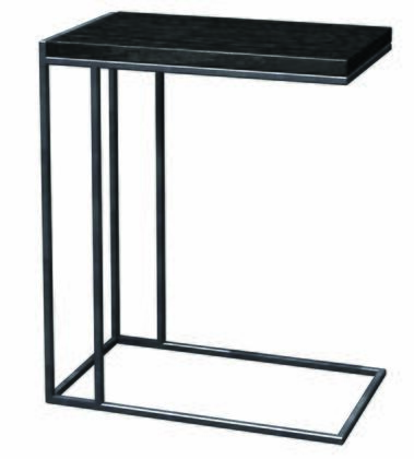 390114 Wabash C-Table 12x20 With .5 inch  Steel Rod Powdercoated Silver Sparkle  1 inch  Thick Veneered & Java
