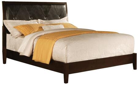 Tyler Collection 19605T Twin Size Bed with Black PU Upholstered Headboard  Low Profile Footboard  Rubberwood and Gum Veneer Materials in Cappuccino