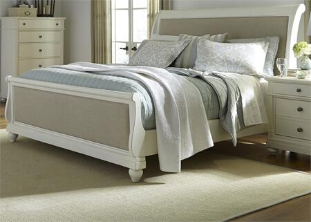 Harbor View II Collection 631-BR-QSL Queen Sleigh Bed with Center Supported Slat System  Turned Bun Feet and Distressing in Linen