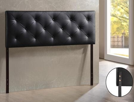 Baxton Studio BBT6431-Black-HB-Full Bedford Headboard with Button-Tufting  Foam Padding  Rubberwood Frame and Faux Leather Upholstery in