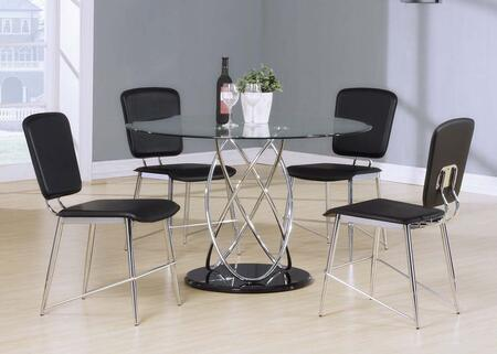 Ronli Collection 70920SET 5 PC Dining Room Set with Dining Table + 4 Side Chairs in Chrome and Black
