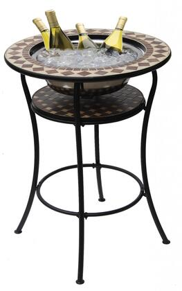DM-3348 Coco Classico 30 inch  Round Bar Table with Beige/Brown Mosaic Tile Top  Stainless Steel Ice Basin and Legs in