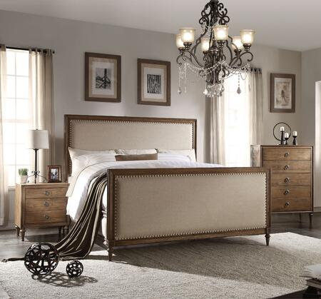 Inverness Collection 26084CK3SET 3 PC Bedroom Set with California King Size Bed Chest and Nightstand in Reclaimed Oak