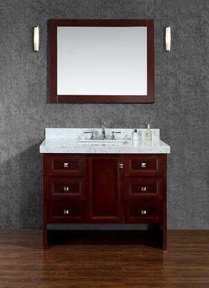 SCBEC42SWA Beckonridge 42 Single-Sink Bathroom Vanity Set with Marble Top  Simple Pulls  Molding Detail and Mirror in