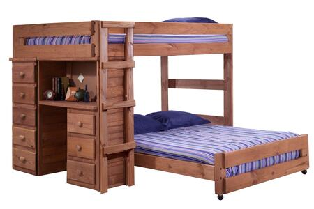 315005 Full Over Full Loft Bed with Desk and 5 Drawer Chest in Mahogany