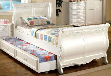 Alexandra Collection CM7226T-BED-TRUNDLE Twin Size Sleigh Bed with Trundle  Fairy Tale Style  Motif Design and Solid Wood Construction in Pearl White