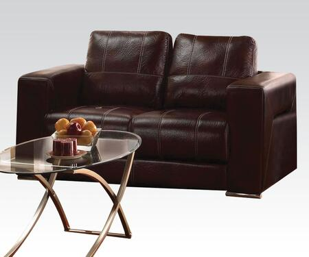 Brayden Collection 51686 75 inch  Loveseat with Wood Frame  Tight Cushions  Baseball Stitching  Track Arms and Leather-Like Fabric Upholstery in Dark Brown