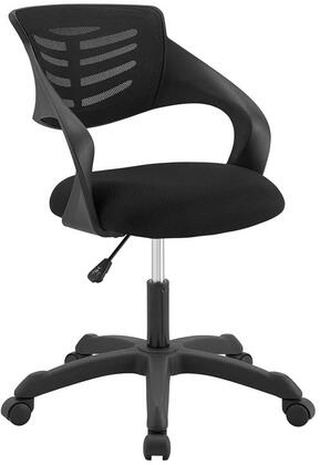 Thrive Collection EEI-3041-BLK Office Chair with 360-Degree Swivel Seat  5 Dual-Wheel Casters  Adjustable Height  Mesh Backrest  Durable Nylon Frame and Fabric