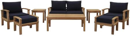 EEI-1471-NAT-NAV-SET Marina 8 Piece Outdoor Patio Teak Sofa + 2 Chairs + 2 Ottomans + 2 End Tables + Coffee Table Set with Water/UV Resistant Cushions  and