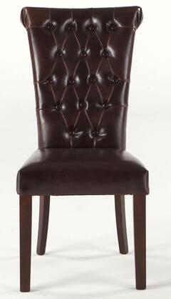 Arabella Waa111 39 Dining Chair With Leather Premium Upholstery  Button Tufted Back  Handle On Back And Solid Hardwood Frame In Brown